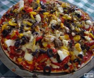 Pizza with olives and capsicum puzzle
