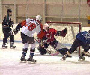 Players and a goalie in an ice hockey match puzzle
