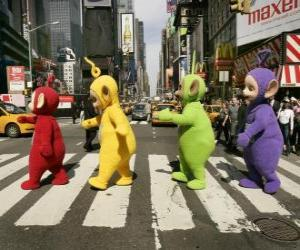 Po, Laa-Laa, Dipsy and Tinky-Winky crossing a street puzzle