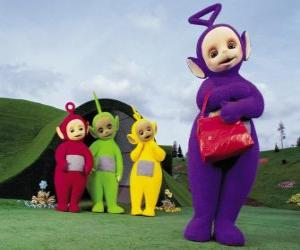 Po, Laa-Laa, Dipsy and Tinky-Winky with his red bag in front of your house puzzle