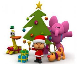 Pocoyo and his friends at Christmas puzzle