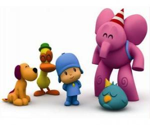 Pocoyo and his friends Pato, Elly, Loula and Sleepy Bird puzzle