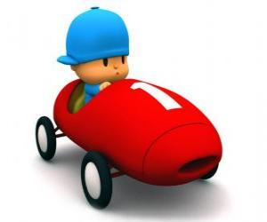Pocoyo driving a race car puzzle