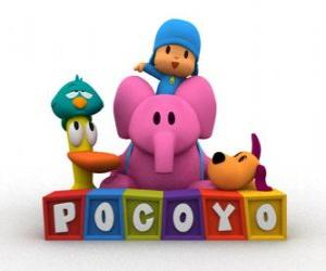 Pocoyo's best friends are Pato, Elly, Loula and Sleepy Bird puzzle