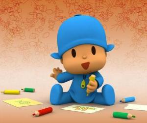 Pocoyo sitting on the floor and making a drawing on a sheet of paper puzzle
