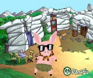 Pokopet Tork, a pig with sunglasses, a pet from Panfu puzzle