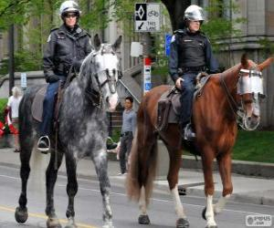 Police officers on horseback puzzle