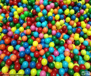 Pool of colorful balls puzzle
