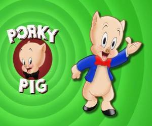 Porky Pig, an animated cartoon character in Loonely Tunes from the Warner Bros puzzle