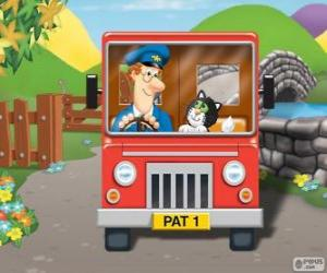 Postman Pat  with his cat Jess in the distribution of mail puzzle