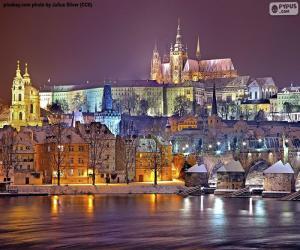 Prague at night, Czech Republic puzzle