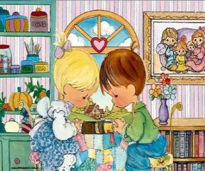 Praying boy and girl. Precious Moments puzzle