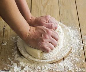 Preparing the dough for pizza puzzle