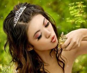 Princess giving a kiss to a frog puzzle