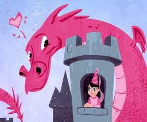 Princess in her castle watched by a great dragon puzzle
