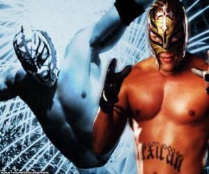 Professional wrestler with a mask prepared for battle, professional wrestling is a sport show puzzle