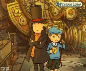 Professor Layton and his assistant Luke Triton, main protagonists of the mystery and puzzle games for Nintendo puzzle
