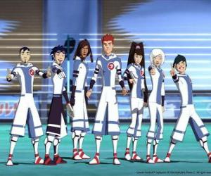Protagonists of the adventures of Galactic football, some of the Snow Kids team on the planet Akillian players puzzle