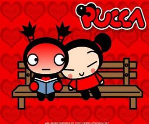 Pucca and Garu sitting on a park bench puzzle