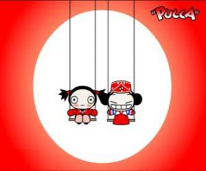 Pucca playing on the swing of the park puzzle