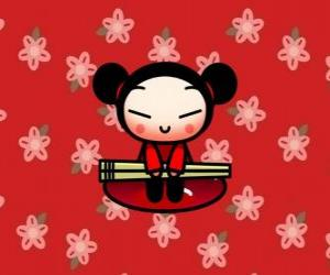 Pucca with the chopsticks over a floral background puzzle
