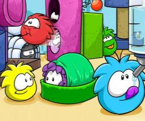 Puffles pets in the Club Penguin  puzzle