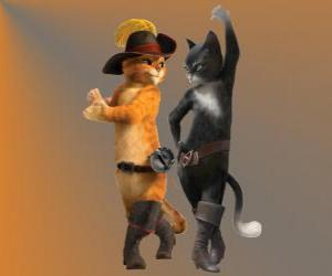 Puss in Boots dancing with Kitty the female cat puzzle