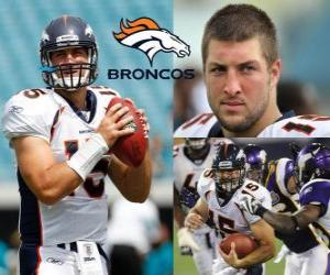 Quarterback Tim Tebow played football in the Denver Broncos. puzzle