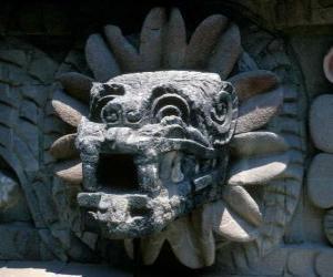 Quetzalcoatl, the Aztec god of life, the plumed serpent puzzle