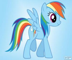 Rainbow Dash, a pegasus pony with the rainbow tail puzzle