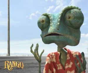 Rango is a pet chameleon who lives in a terrarium that ends in the desert puzzle