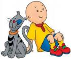 Caillou sitting on the floor with your cat Gilbert