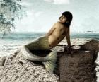 Mermaid sitting on a rock beside the sea