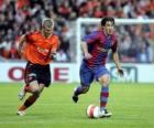 Football player (Bojan Krkic F.C.B) driving the ball