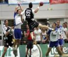Handball - Player in a jump to launch