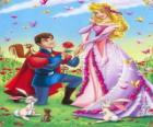 Prince Philip kneeling in front the princess Aurora in the marriage proposal
