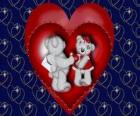 Bears in love with two hearts