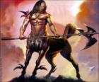Centaur armed - Being with the torso and head human and a body of a horse