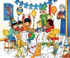 Caillou with friends on their birthday
