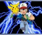 Ash, trainer of pokémon, with its first Pokémon Pikachu