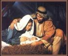 Nativity - The Infant Jesus with Mary his mother and his father Joseph