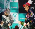 Mark Webber in the podium