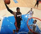 Lebron James going for a slam dunk