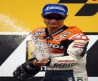 Dani Pedrosa in the podium