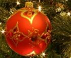 Christmas ball or christmas bauble decorated with geometric motifs