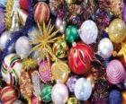 Set of Christmas baubles or balls with different decorations