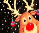 The head of Rudolf, the red nose reindeer, decorated with Christmas decorations