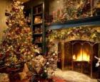 Fireplace in Christmas with Christmas decorations