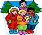 Children singing Christmas carols in the street