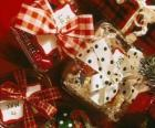 Christmas gifts adorned with ribbons
